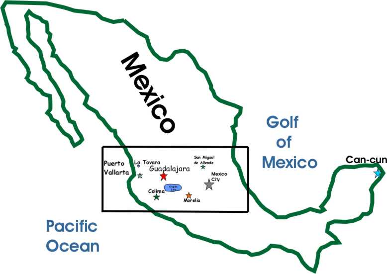 Map of Mexico Travel for your Vaction in Mexico Guadalajara